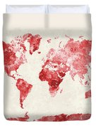 World Map In Watercolor Red Duvet Cover