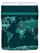 World Map Landmark Collage 4 Duvet Cover