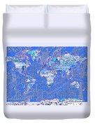 World Map Landmark Collage 8 Duvet Cover
