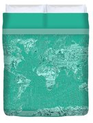 World Map Landmark Collage Green Duvet Cover