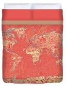 World Map Landmark Collage Red Duvet Cover