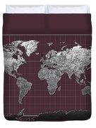 World Map Landmark Purple Duvet Cover
