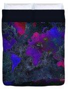 World Map - Purple Flip The Dark Night - Abstract - Digital Painting 2 Duvet Cover