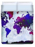 World Map - Purple Flip The Light Of Day - Abstract - Digital Painting 2 Duvet Cover by Andee Design