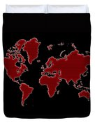 World Map Red Grid Duvet Cover