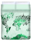 World Map Watercolor 4 Duvet Cover