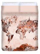 World Map Watercolor Duvet Cover