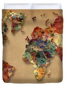 World Map Watercolor Painting 1 Duvet Cover