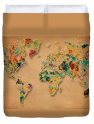 World Map Watercolor Painting 2 Duvet Cover