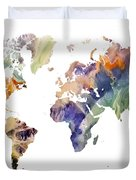 World Map Watercolor Painting Duvet Cover