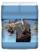 World Shipping Routes Map Duvet Cover