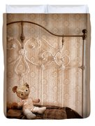 Worn Teddy Bear On Brass Bed Duvet Cover