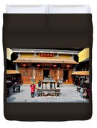 Worshipers In Urn Courtyard Of Chinese Temple Shanghai China Duvet Cover
