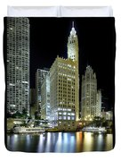 Wrigley Building At Night  Duvet Cover