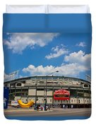 Wrigley Field And Clouds Duvet Cover