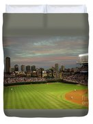 Wrigley Field At Dusk Duvet Cover by John Gaffen