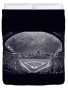 Wrigley Field Night Game Chicago Bw Duvet Cover
