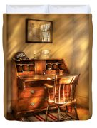 Writer - A Chair And A Desk Duvet Cover by Mike Savad