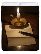 Writing A Letter By Candle Light Duvet Cover