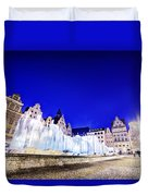Wroclaw Poland The Market Square And The Famous Fountain At Night Duvet Cover