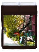 Wrought Iron Fence Balcony And Staircases Verdun Stairs Summer Scenes Carole Spandau  Duvet Cover