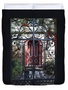 Wrought Iron Gate And Red Door Charleston South Carolina Duvet Cover