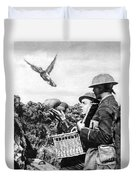 Wwi Releasing British Carrier Pigeon Duvet Cover