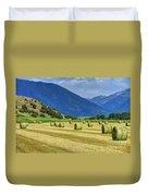 Wyoming Mountain Hay Farm Duvet Cover
