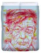 Wystan Auden  Watercolor Portrait Duvet Cover