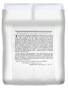 Wythe: Broadside, 1774 Duvet Cover