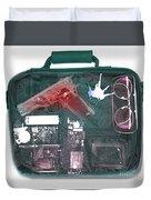 X-ray Of A Briefcase With A Gun Duvet Cover