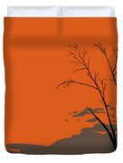 Abstract Tropical Birds Sunset Large Pop Art Nouveau Landscape 3 - Left Side Duvet Cover
