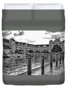 Yacht And Beach Club After The Rain In Black And White Walt Disney World Duvet Cover
