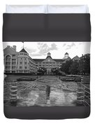 Yacht And Beach Club In Black And White Walt Disney World Duvet Cover