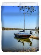 Yacht At The Little Manitou Lake Duvet Cover