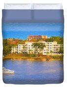 Yacht On The Water Duvet Cover