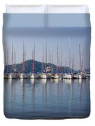Yachts Docked In The Harbor Gocek Duvet Cover by Christine Giles