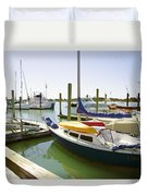 Yachts In A Port 1 Duvet Cover