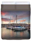 yachts in Mikrolimano marina  Duvet Cover