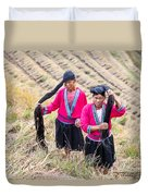 Yao Ethnic Minority Women On Rice Terrace Duvet Cover