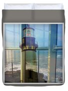 Yaquina Head Lighthouse Mirage  Duvet Cover