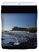 Yaquina Lighthouse And Beach No 1 Duvet Cover