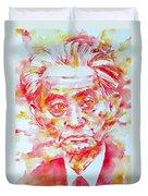 Yasunari Kawabata Watercolor Portrait Duvet Cover