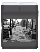 Ybor City Sidewalk - Black And White Duvet Cover