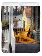 Yellow Adirondack Rocking Chairs Duvet Cover