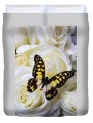 Yellow And Black Butterfly Duvet Cover