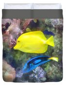 Yellow And Blue Tang Fish Duvet Cover