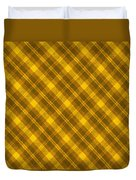 Yellow And Brown Diagonal Plaid Pattern Cloth Background Duvet Cover