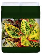 Yellow And Green Croton Duvet Cover