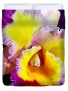 Yellow And Magenta Cattleya Orchid Duvet Cover
